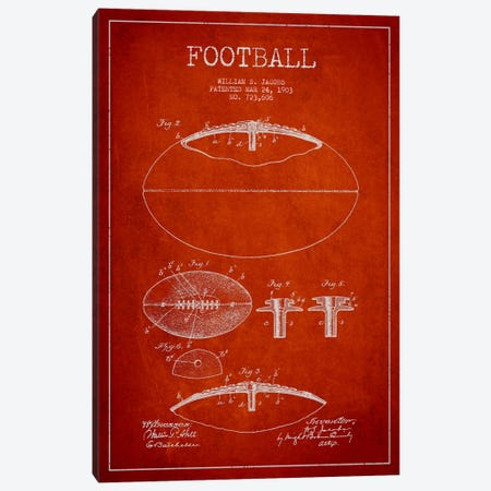 Football Red Patent Blueprint Canvas Print #ADP2098} by Aged Pixel Canvas Print
