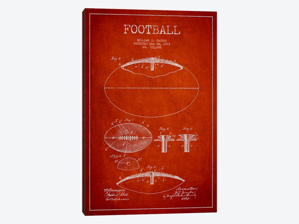 Football Red Patent Blueprint by Aged Pixel 1-piece Canvas Art Print
