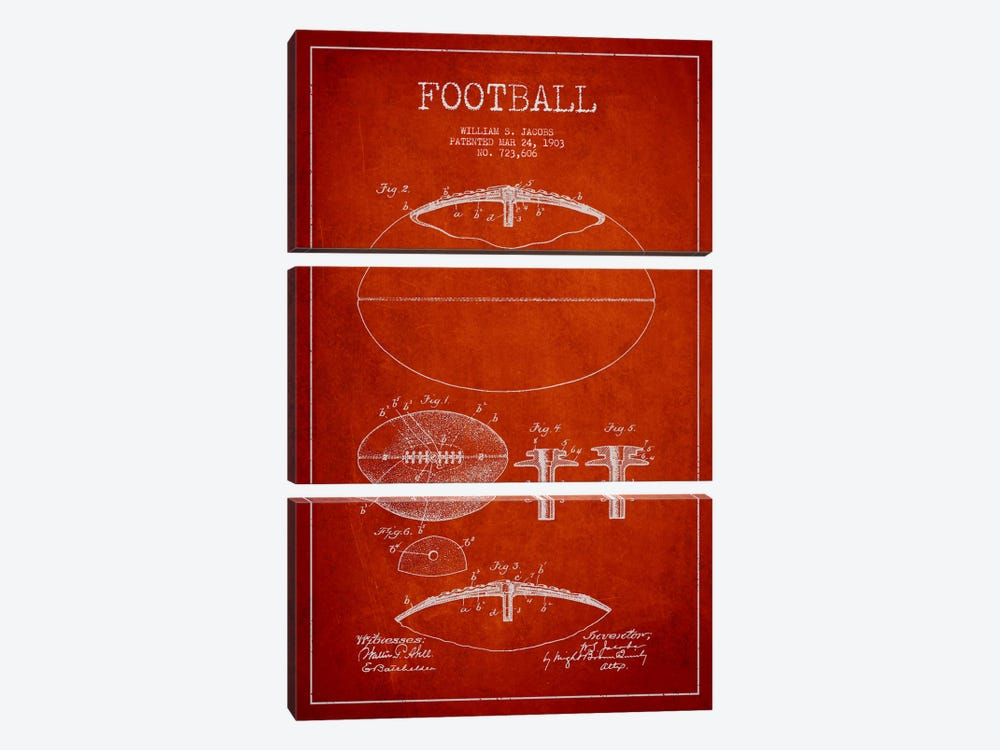 Football Red Patent Blueprint by Aged Pixel 3-piece Canvas Art Print