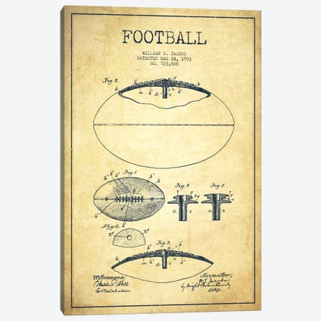 Football Vintage Patent Blueprint Canvas Print #ADP2099} by Aged Pixel Canvas Print