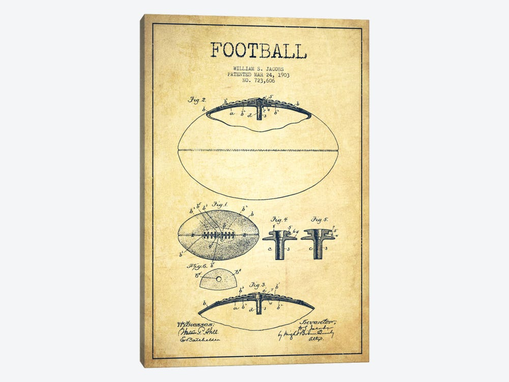Football Vintage Patent Blueprint 1-piece Canvas Art