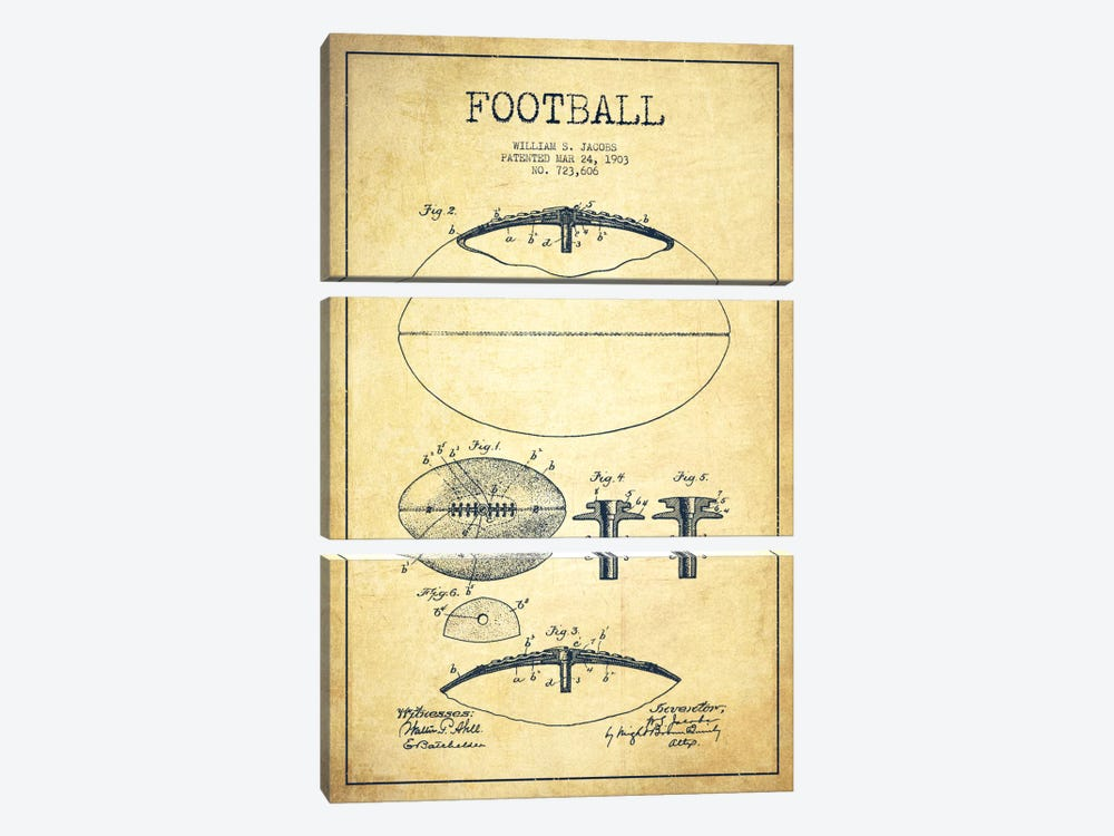 Football Vintage Patent Blueprint by Aged Pixel 3-piece Canvas Art