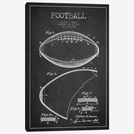 Football Charcoal Patent Blueprint Canvas Print #ADP2100} by Aged Pixel Canvas Art Print