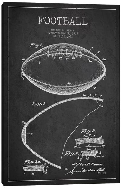 Football Charcoal Patent Blueprint Canvas Art Print