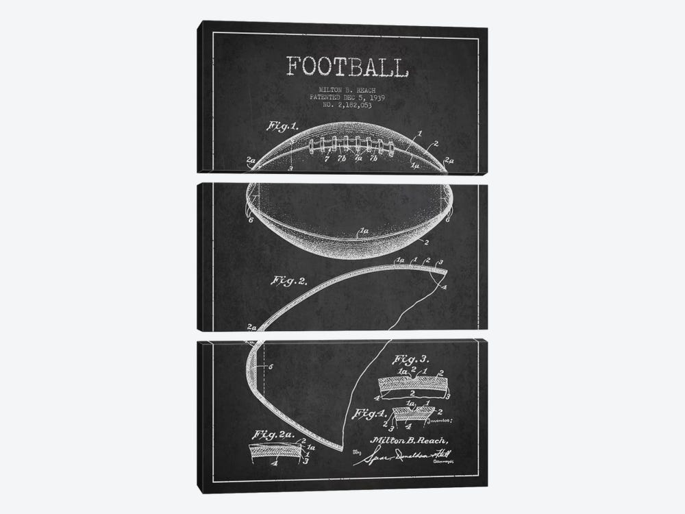 Football Charcoal Patent Blueprint by Aged Pixel 3-piece Canvas Print