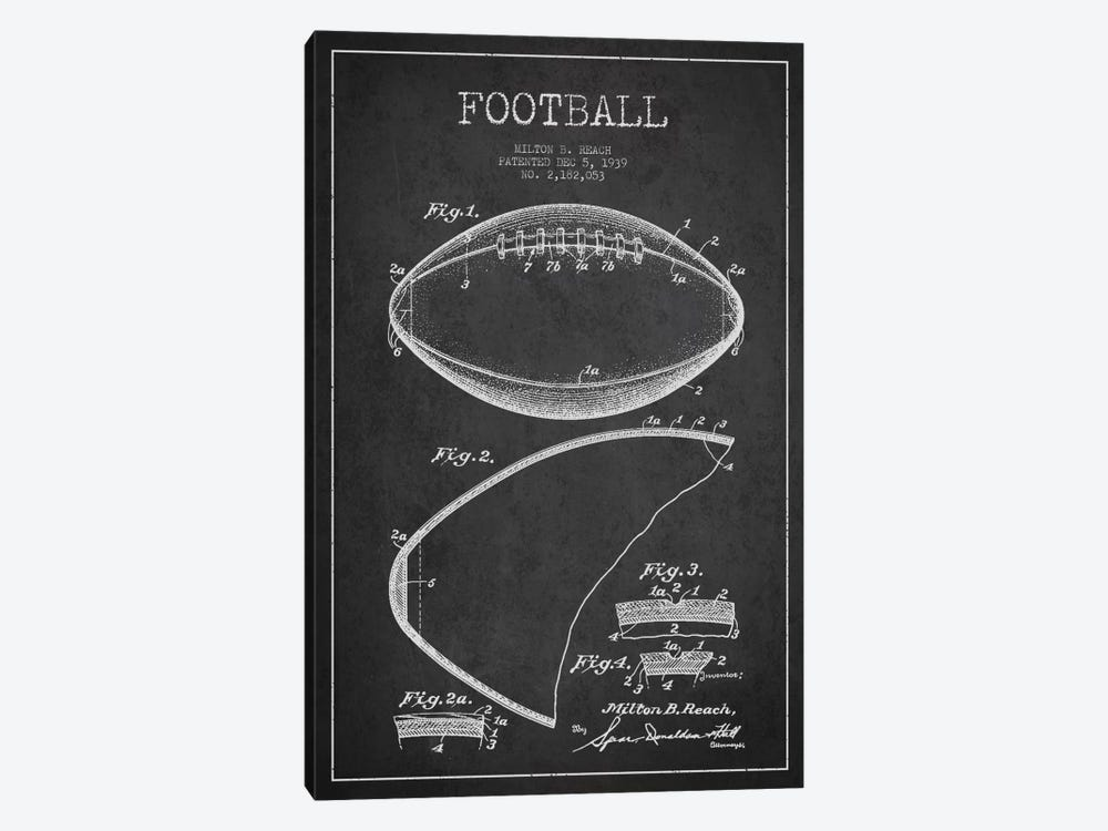 Football Charcoal Patent Blueprint by Aged Pixel 1-piece Art Print