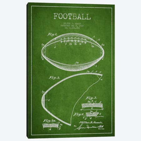 Football Green Patent Blueprint Canvas Print #ADP2101} by Aged Pixel Art Print