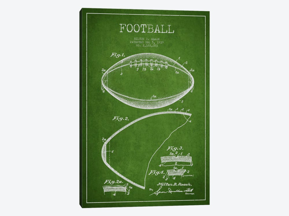 Football Green Patent Blueprint by Aged Pixel 1-piece Canvas Wall Art
