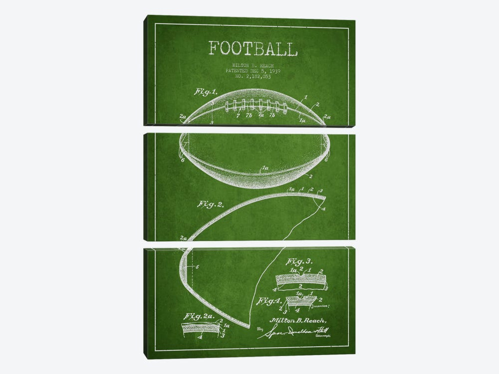 Football Green Patent Blueprint by Aged Pixel 3-piece Canvas Wall Art