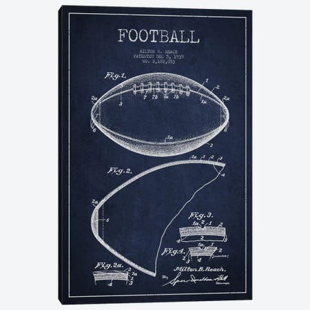 Football Navy Blue Patent Blueprint Canvas Print #ADP2102} by Aged Pixel Art Print