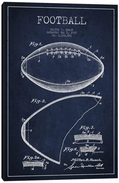 Football Navy Blue Patent Blueprint Canvas Print #ADP2102