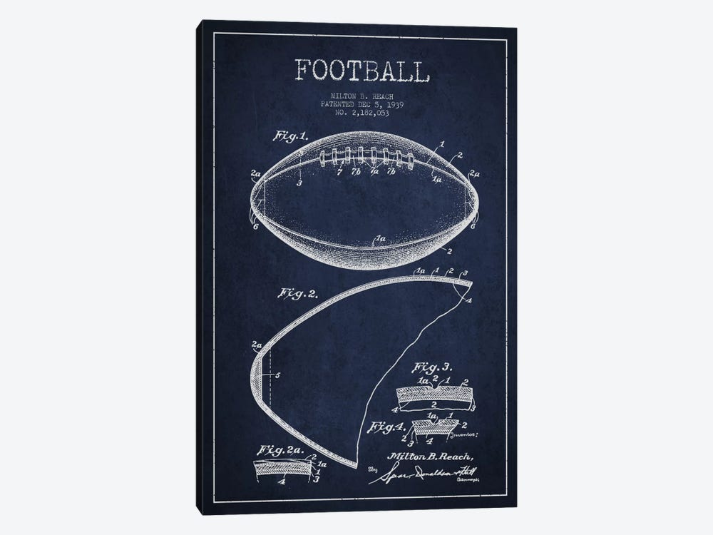 Football Navy Blue Patent Blueprint by Aged Pixel 1-piece Art Print