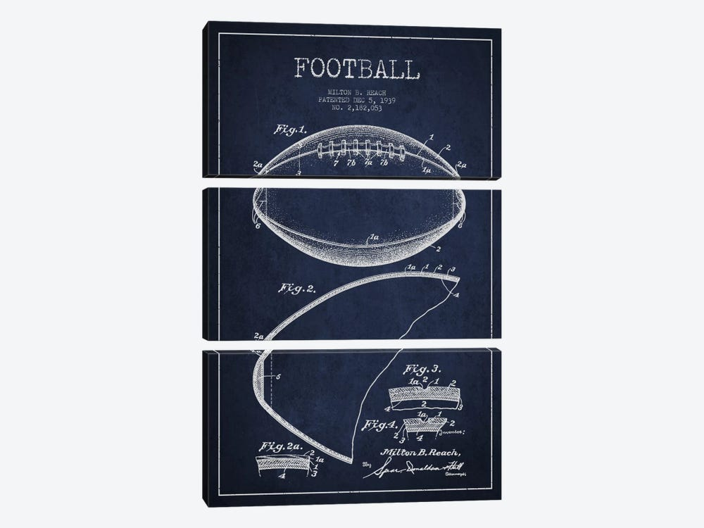 Football Navy Blue Patent Blueprint by Aged Pixel 3-piece Canvas Print