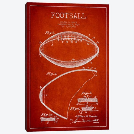 Football Red Patent Blueprint Canvas Print #ADP2103} by Aged Pixel Canvas Art Print