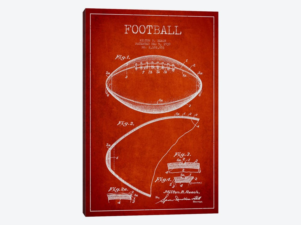 Football Red Patent Blueprint by Aged Pixel 1-piece Canvas Art