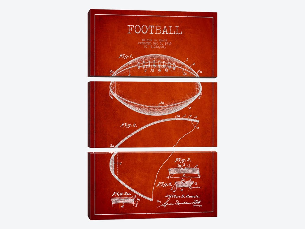 Football Red Patent Blueprint by Aged Pixel 3-piece Canvas Artwork