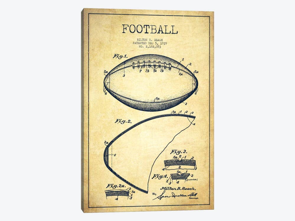 Football Vintage Patent Blueprint by Aged Pixel 1-piece Canvas Art Print