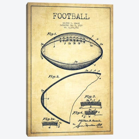 Football Vintage Patent Blueprint Canvas Print #ADP2104} by Aged Pixel Canvas Artwork