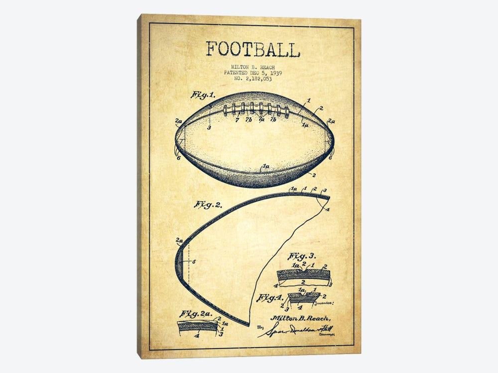 Football Vintage Patent Blueprint by Aged Pixel 1-piece Canvas Art Print