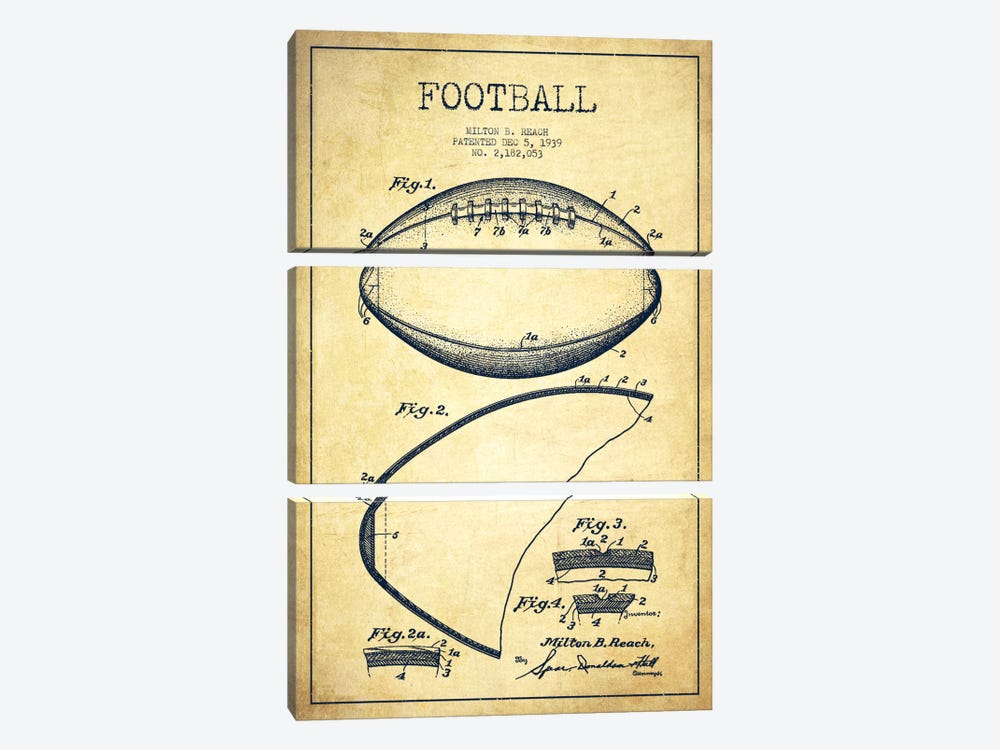 Football Vintage Patent Blueprint by Aged Pixel 3-piece Canvas Art Print