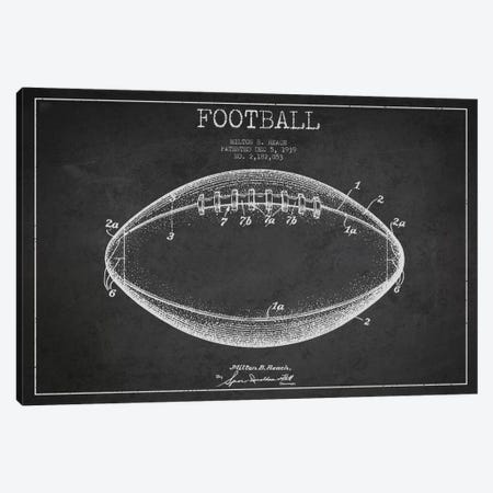 Football Charcoal Patent Blueprint Canvas Print #ADP2105} by Aged Pixel Canvas Art
