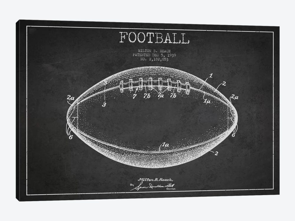 Football Charcoal Patent Blueprint by Aged Pixel 1-piece Canvas Artwork