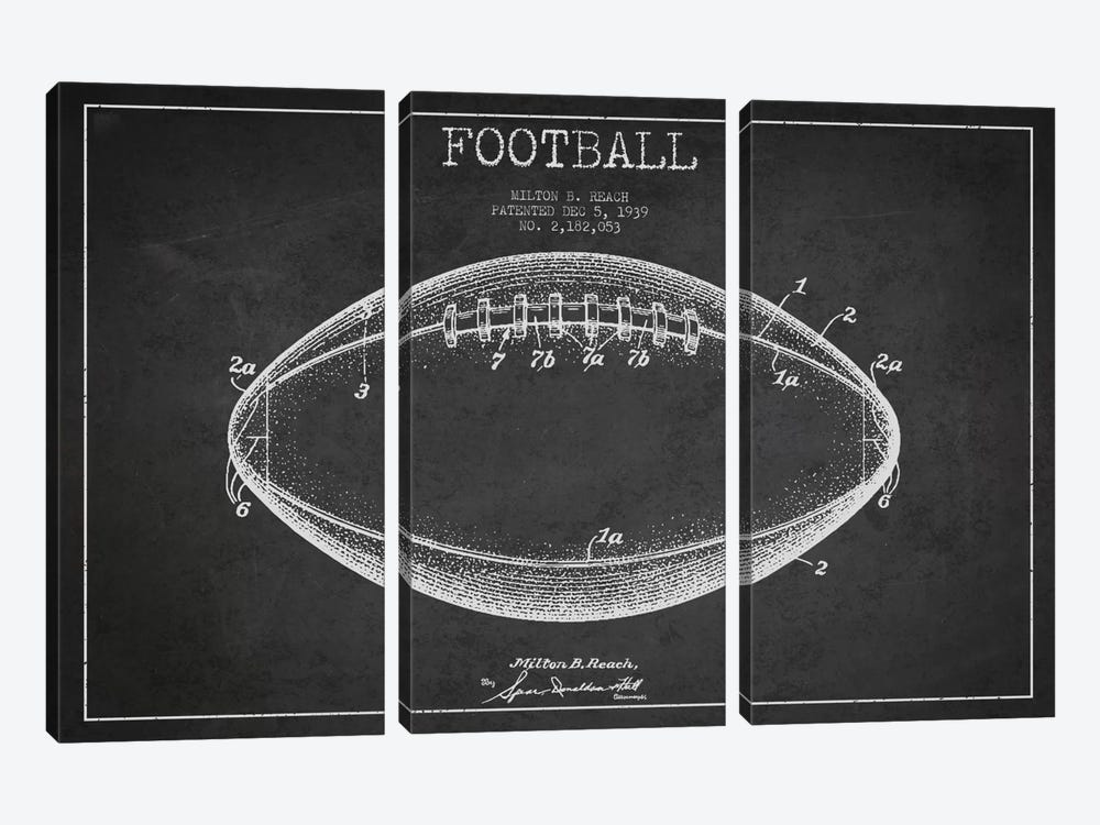 Football Charcoal Patent Blueprint by Aged Pixel 3-piece Canvas Art
