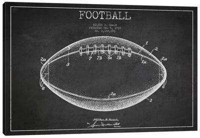 Football Charcoal Patent Blueprint Canvas Art Print