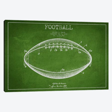 Football Green Patent Blueprint Canvas Print #ADP2106} by Aged Pixel Canvas Artwork