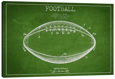 Football Green Patent Blueprint Canvas Art Print