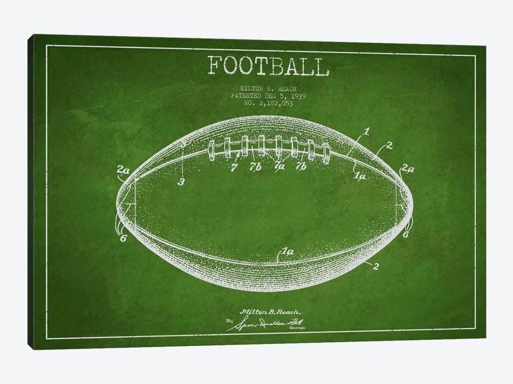Football Green Patent Blueprint by Aged Pixel 1-piece Canvas Print