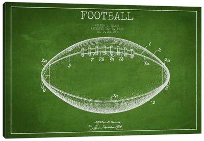 Football Green Patent Blueprint Canvas Art Print