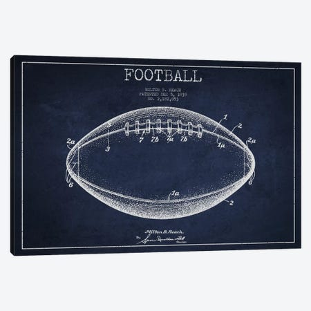 Football Navy Blue Patent Blueprint Canvas Print #ADP2107} by Aged Pixel Canvas Artwork