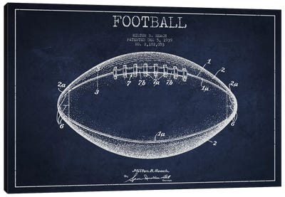 Football Navy Blue Patent Blueprint Canvas Art Print