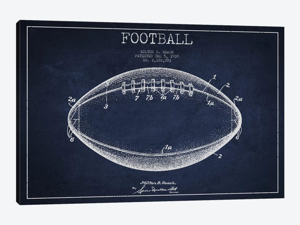 Football Navy Blue Patent Blueprint by Aged Pixel 1-piece Canvas Artwork