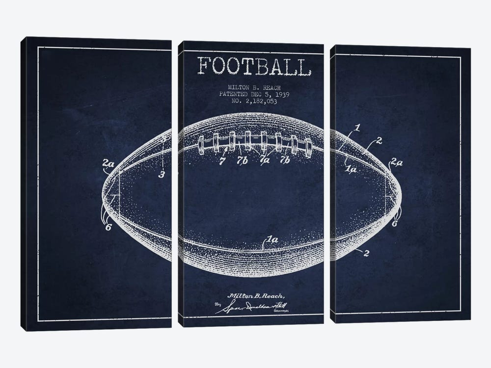 Football Navy Blue Patent Blueprint by Aged Pixel 3-piece Canvas Wall Art