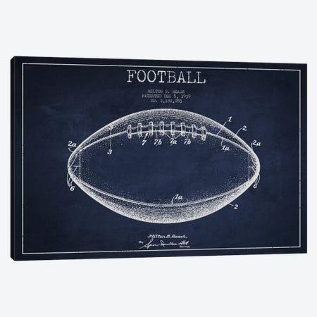 Football Navy Blue Patent Blueprint Canvas Print #ADP2107} by Aged Pixel Canvas Artwork