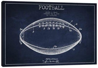 Football Navy Blue Patent Blueprint Canvas Art Print