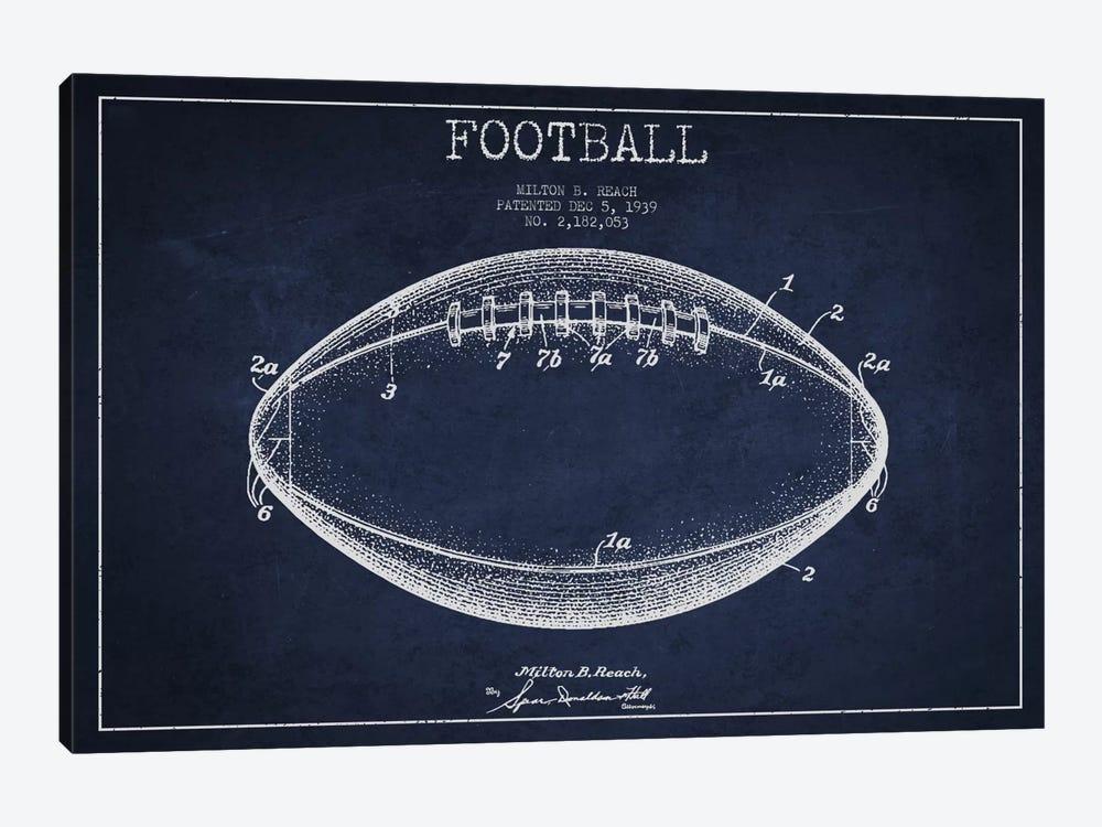 Football Navy Blue Patent Blueprint by Aged Pixel 1-piece Canvas Artwork
