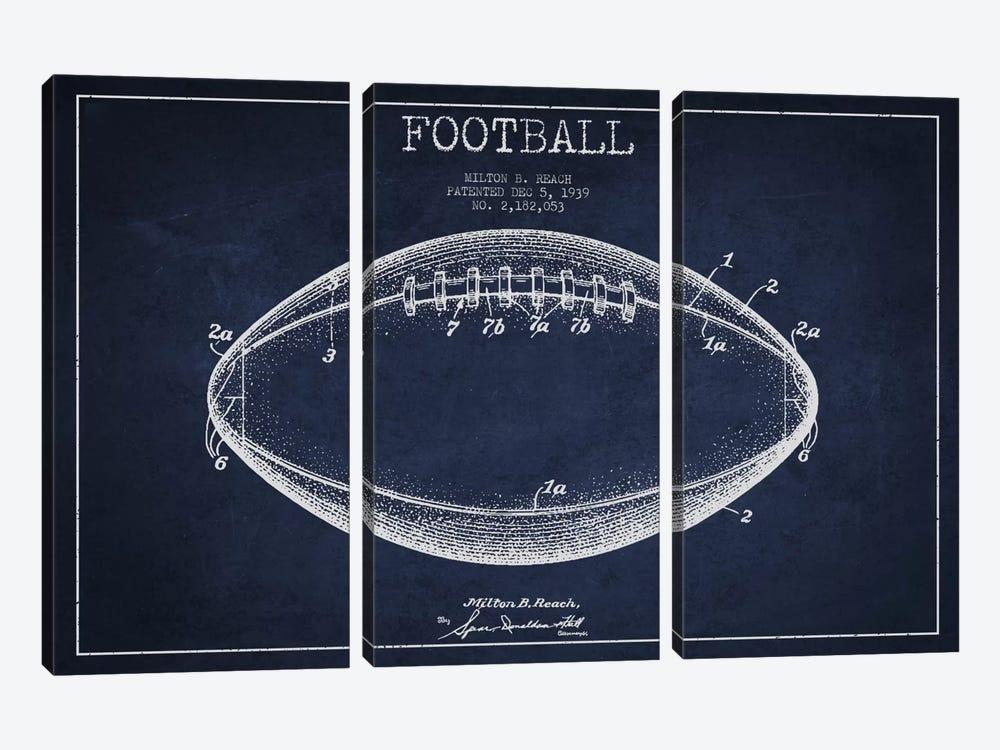 Football Navy Blue Patent Blueprint by Aged Pixel 3-piece Canvas Wall Art