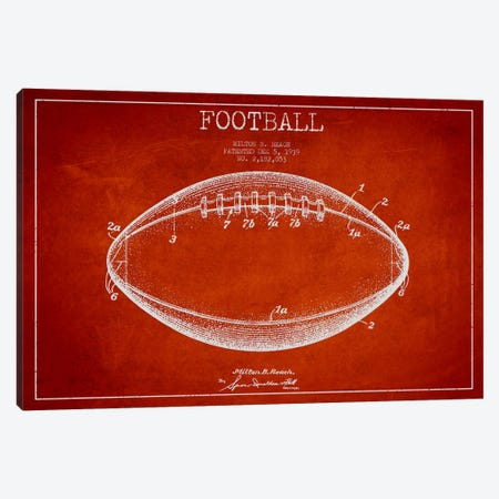 Football Red Patent Blueprint Canvas Print #ADP2108} by Aged Pixel Canvas Print