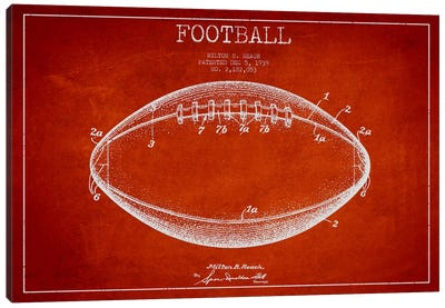 Football Red Patent Blueprint Canvas Art Print
