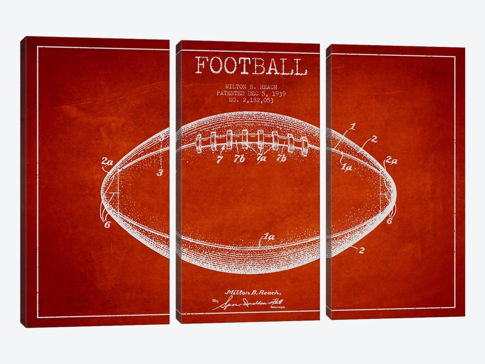 Football Red Patent Blueprint by Aged Pixel 3-piece Art Print
