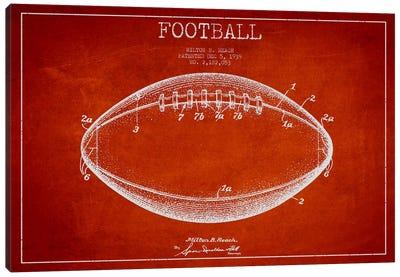 Football Red Patent Blueprint Canvas Art Print