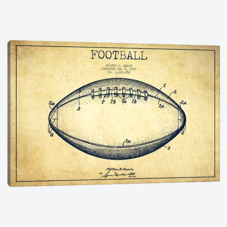 Football Vintage Patent Blueprint Canvas Print #ADP2109} by Aged Pixel Canvas Print