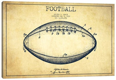 Football Vintage Patent Blueprint Canvas Art Print