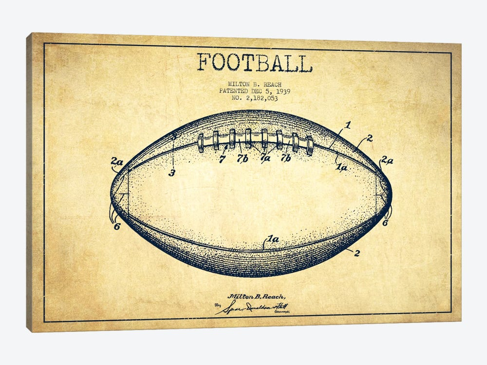 Football Vintage Patent Blueprint by Aged Pixel 1-piece Canvas Wall Art