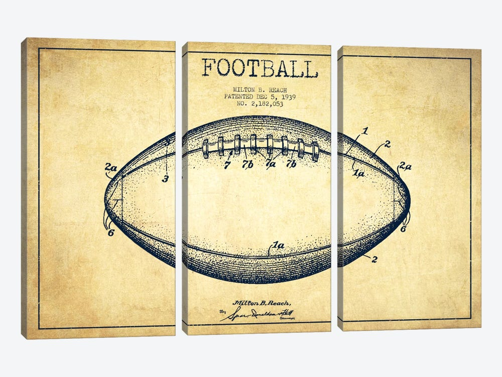Football Vintage Patent Blueprint by Aged Pixel 3-piece Canvas Artwork