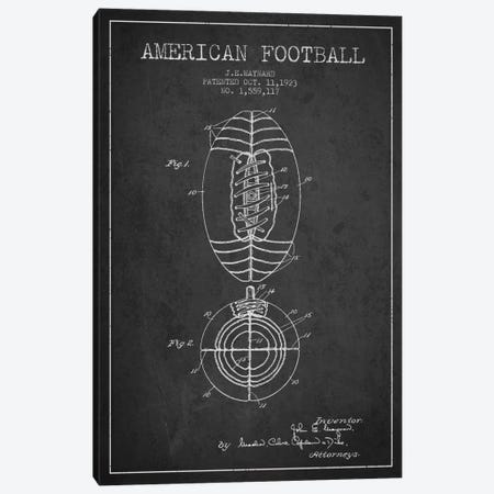 Football Charcoal Patent Blueprint Canvas Print #ADP2110} by Aged Pixel Canvas Artwork