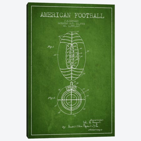 Football Green Patent Blueprint Canvas Print #ADP2111} by Aged Pixel Canvas Artwork